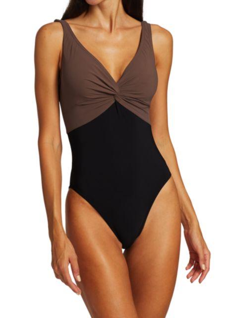 Karla Colletto Swim Isadora V-Neck Twist Underwire One-Piece Swimsuit | SaksFifthAvenue