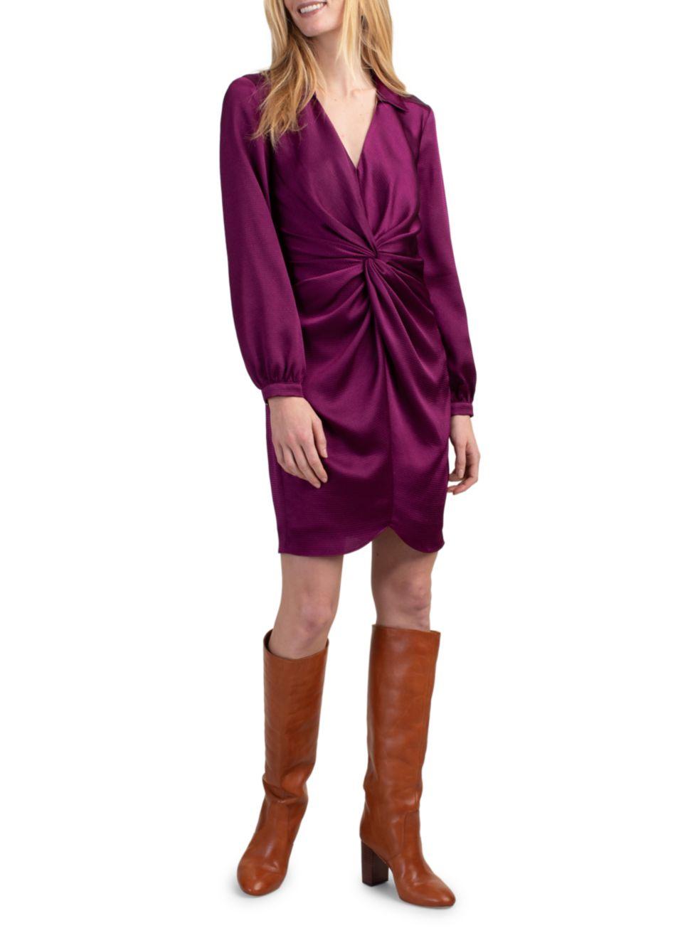 Trina Turk Anne Twist-Front Long-Sleeve Dress   SaksFifthAvenue
