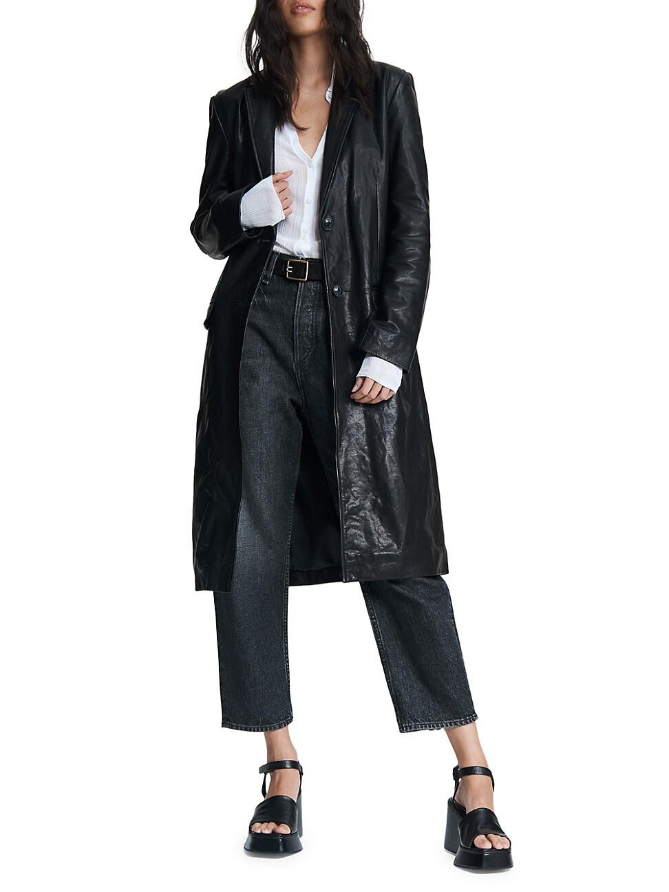 Rag & Bone Women's Trinity Leather Coat In Blk