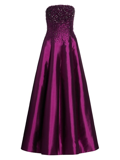 Van Der Rohe Strapless Crystalized Gown