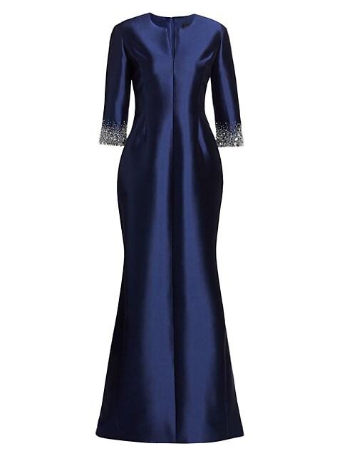 Radzimir Crystal Cuff Silk & Wool Mermaid Gown