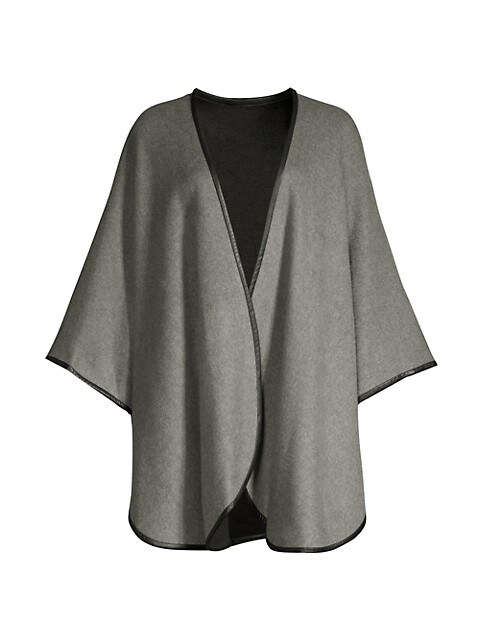 Leather-Trim Reversible Cashmere Cape