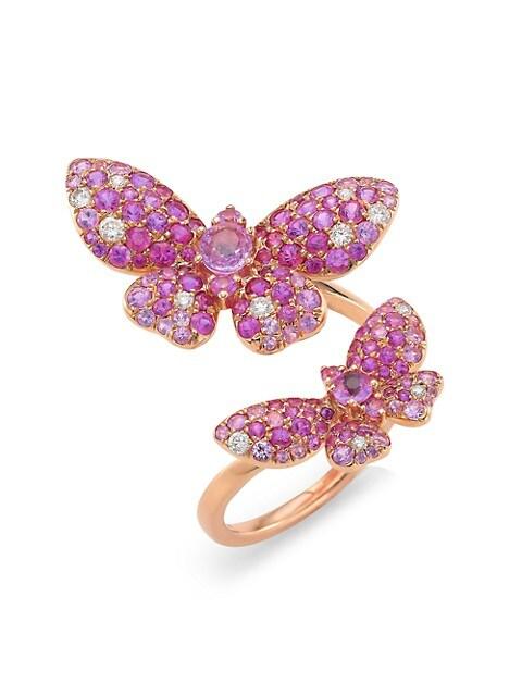 Butterflies 18K Rose Gold, Diamond & Pink Sapphire Ring