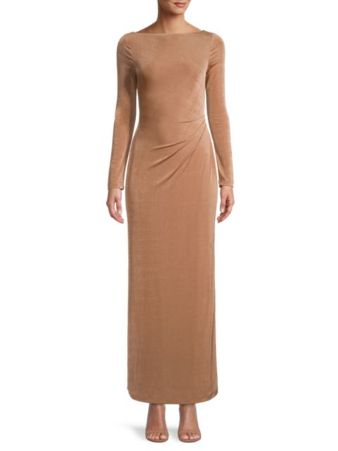 Significant Other Bambi Ruched-Back Long-Sleeve Gown   SaksFifthAvenue