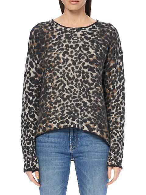 Leopard Print Tipped Crew Sweater