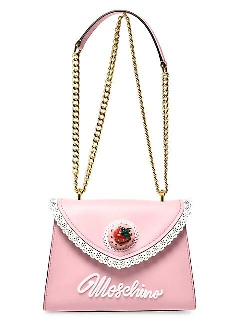 Lace-Trim Leather Shoulder Bag
