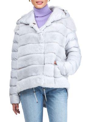 Gorski Women's Horizontal Rex Rabbit Fur Jacket In Ice Gray