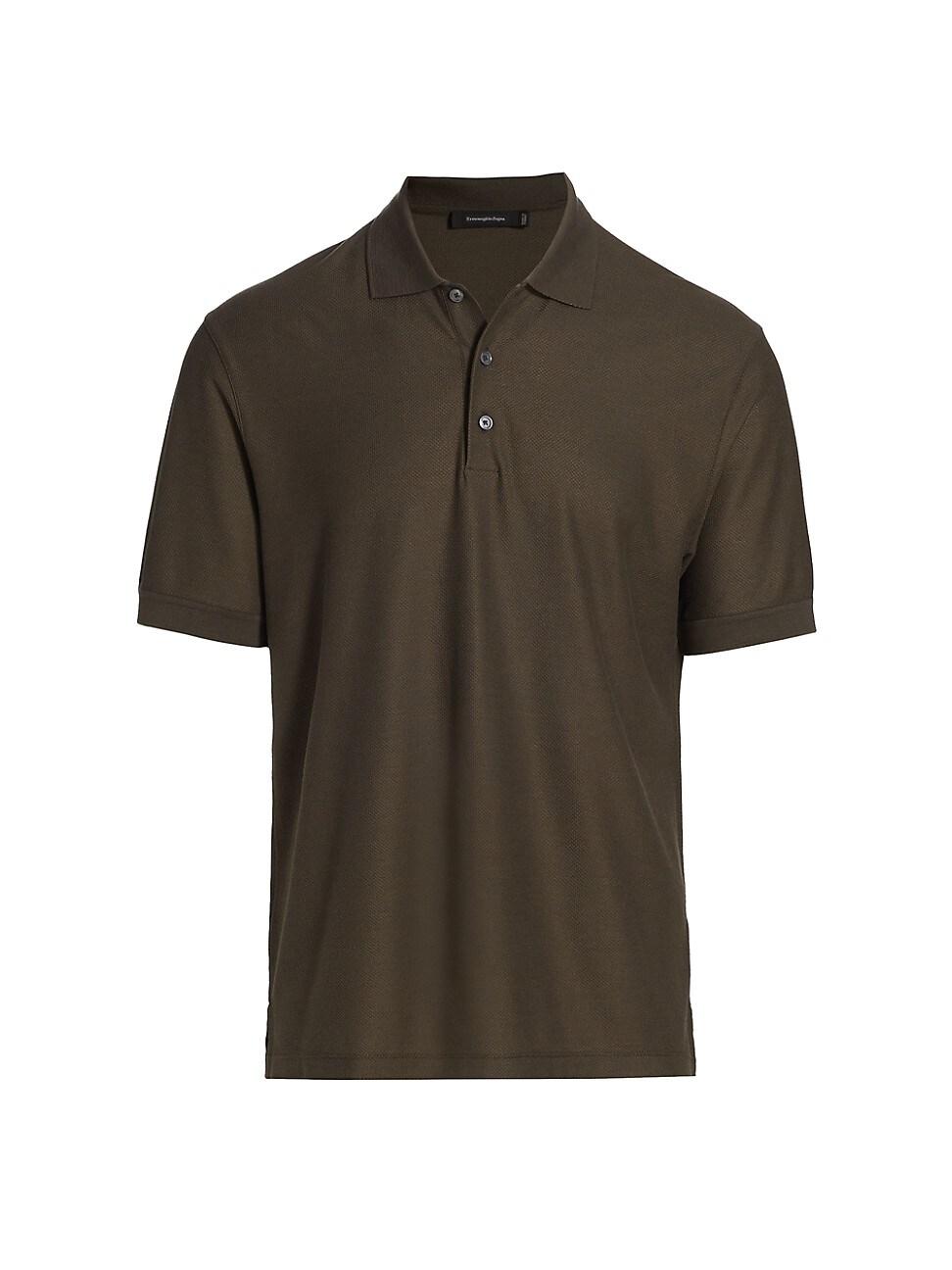 Ermenegildo Zegna Classic Cotton & Silk Polo In Dark Green Solid