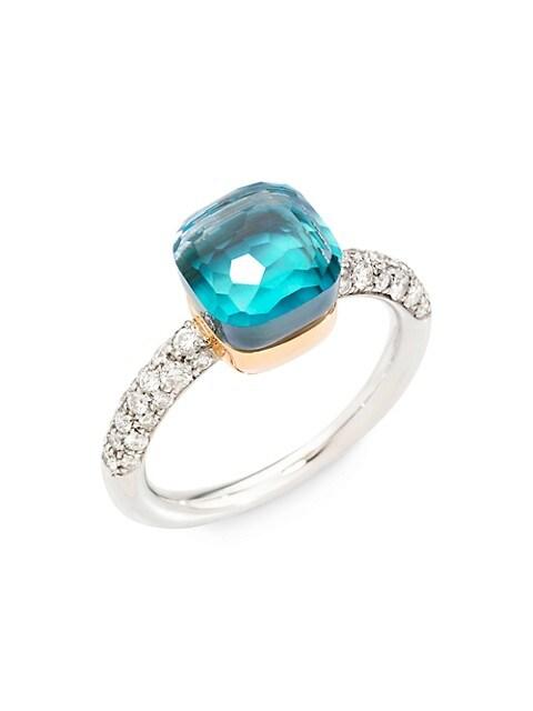 Nudo 18K Two-Tone Gold & Sky Blue Topaz Doublet & Diamond Petite Ring