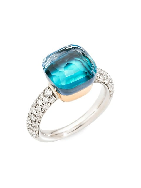 Nudo 18K Two-Tone Gold, Sky Blue Topaz & Diamond Classic Ring