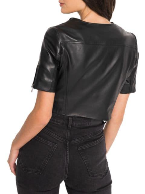 LaMarque Kirsi Short-Sleeve Leather Jacket | SaksFifthAvenue