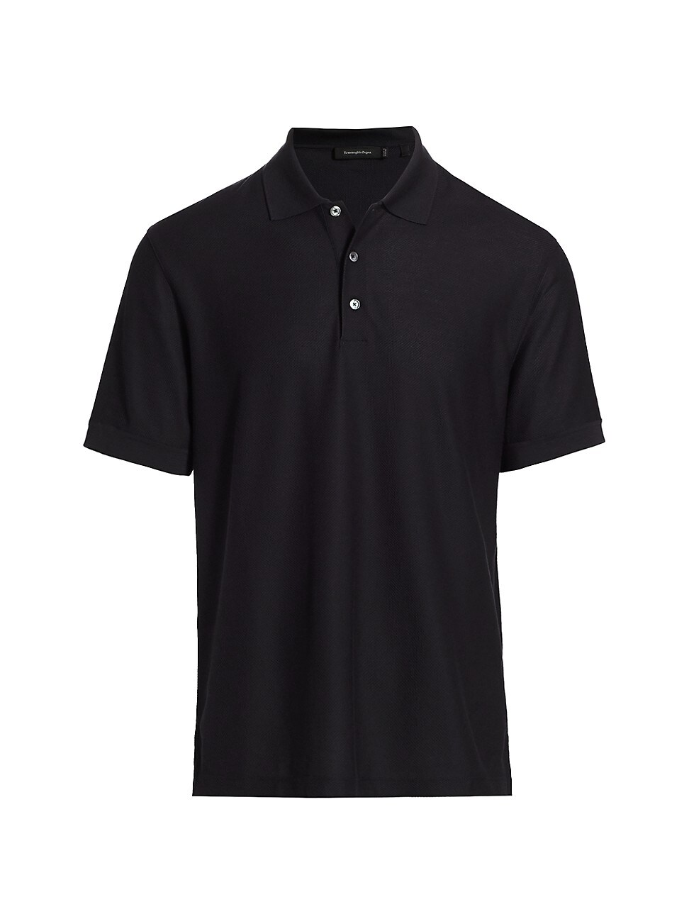Ermenegildo Zegna Classic Cotton & Silk Polo In Dark Blue Solid
