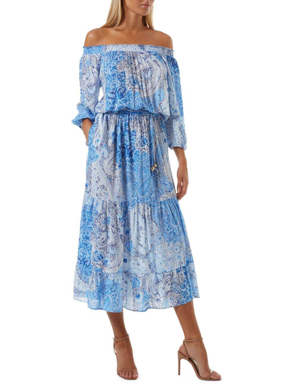 Melissa Odabash Condor Paisley Off-the-Shoulder Dress | SaksFifthAvenue