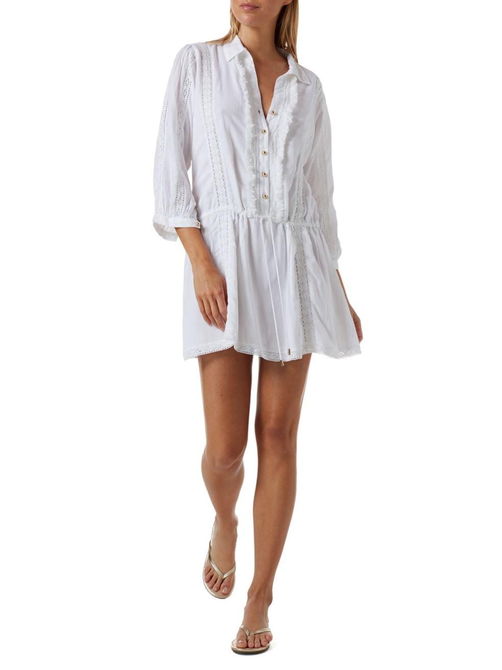 Melissa Odabash Scarlett Lace Trim Shirtdress | SaksFifthAvenue