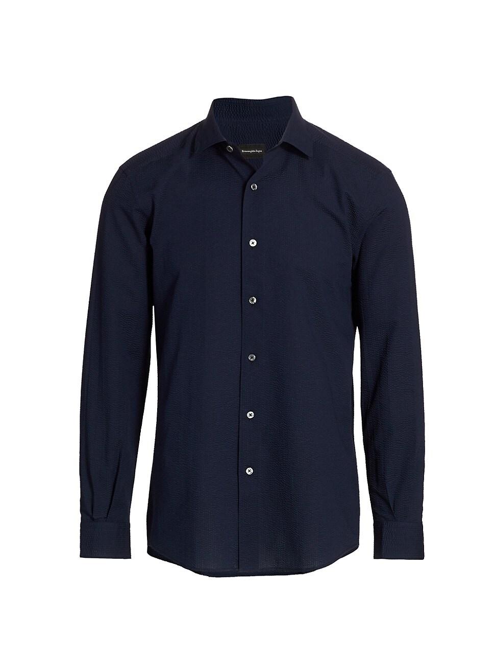 Ermenegildo Zegna Seersucker Button-up Shirt In Navy