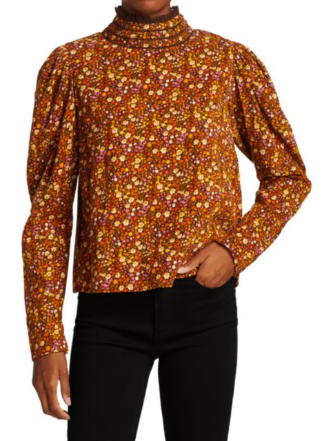 ByTiMo Floral Corduroy Ruffleneck Shirt   SaksFifthAvenue