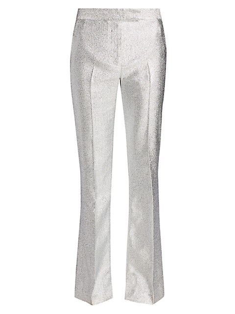Metallic Lame Slim-Leg Trousers