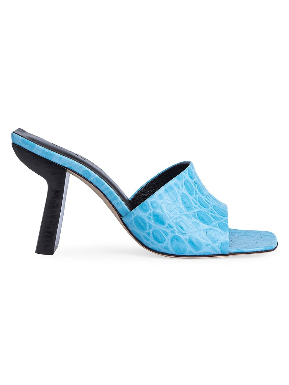 By Far WOMEN'S LILIANA CROC-EMBOSSED LEATHER MULES