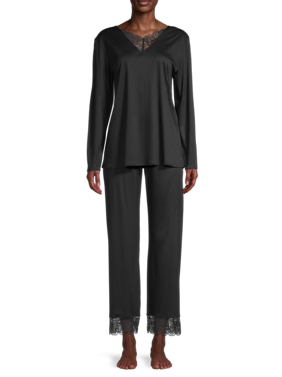 Hanro Wanda 2-Piece Lace Panel Long Pajama Set | SaksFifthAvenue