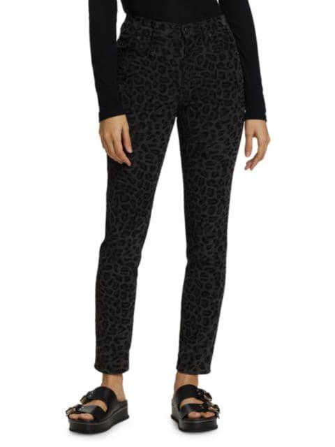 R13 High-Rise Leopard Print Skinny Jeans   SaksFifthAvenue