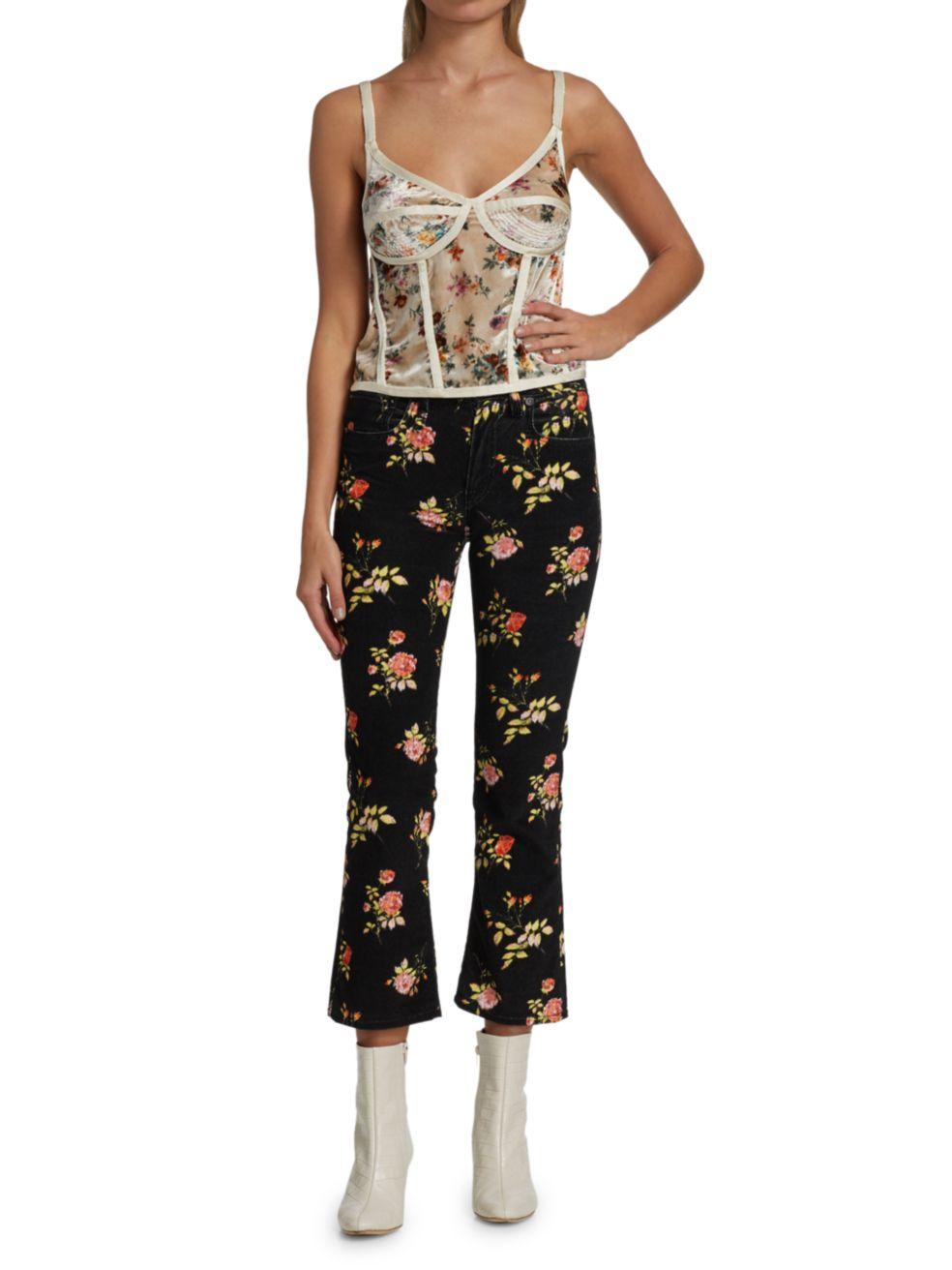 R13 Velvet Floral Corset Camisole | SaksFifthAvenue