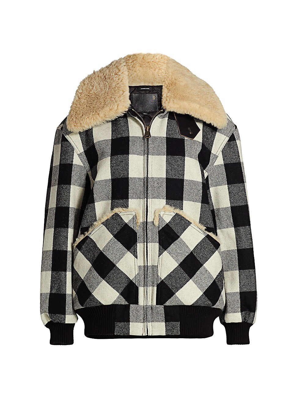 R13 WOMEN'S EXAGGERATED SHEARLING COLLAR PLAID BOMBER JACKET