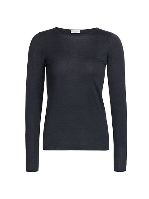 Cashmere & Silk Boatneck Long-Sleeve Shirt