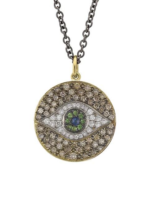 Evil Eye 18K Yellow Gold & Multi-Stone Dawn Chevalier Pendant Necklace