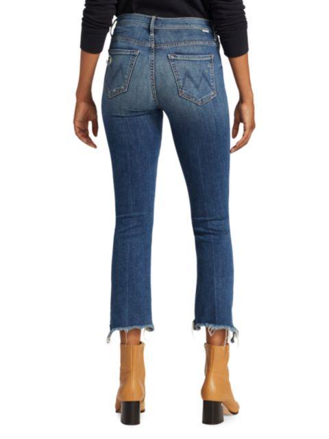 Mother Insider High-Rise Cropped Step-Hem Jeans   SaksFifthAvenue