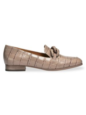 Kate Spade Rowan Square-Toe Croc-Embossed Leather Loafers