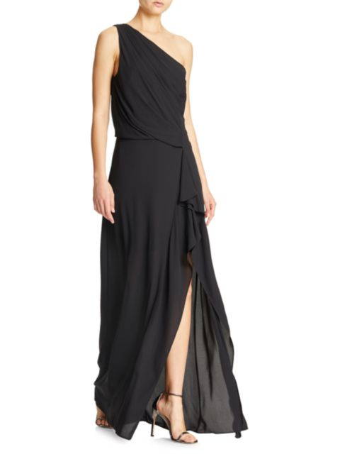 Halston One-Shoulder Drape Gown   SaksFifthAvenue
