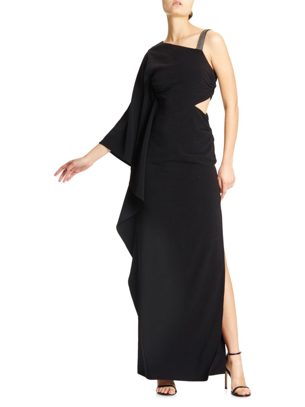 Halston Asymmetrical Cutout Gown   SaksFifthAvenue