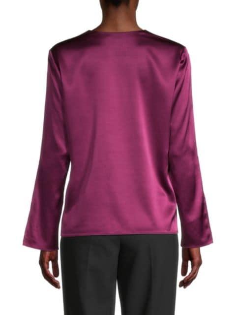 BOSS Ialore Stretch-Silk Satin Tie-Sleeve V-Neck Top   SaksFifthAvenue