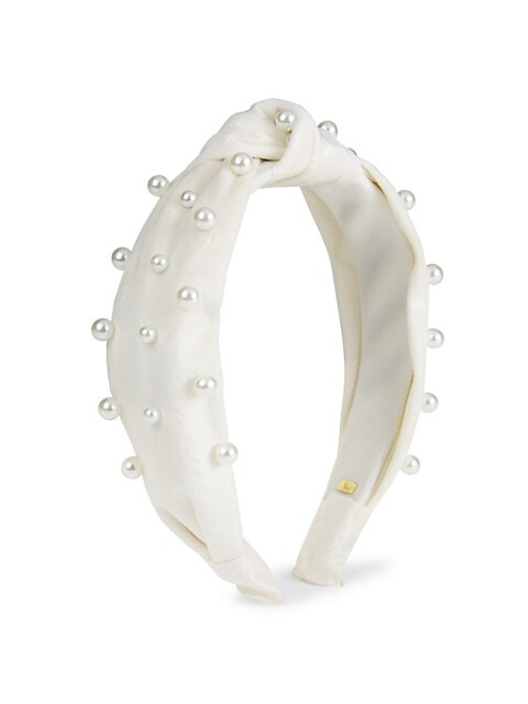 Faux Pearl Knotted Velvet Headband