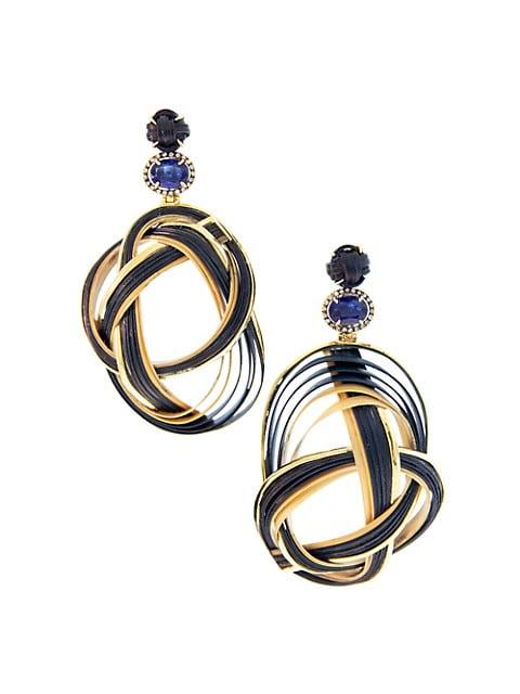 Bamboo 18K Yellow Gold, Kyanite & Diamond Woven Drop Earrings