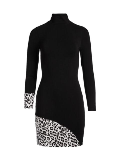 Alice + Olivia Delora Long-Sleeve Turtleneck Mini Dress | SaksFifthAvenue