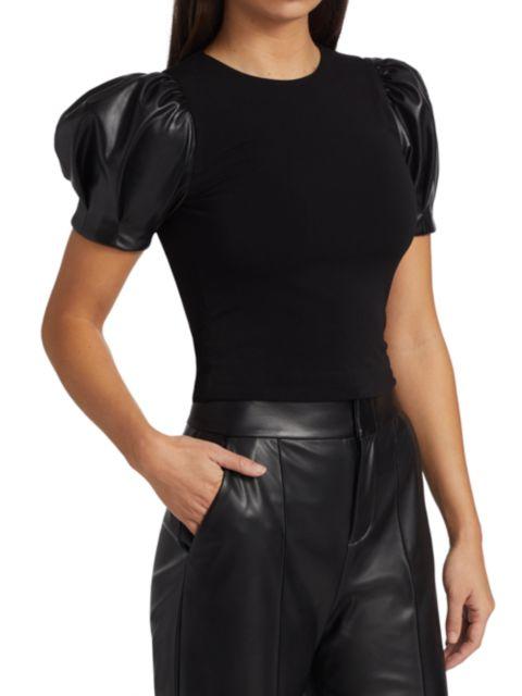 Alice + Olivia Aubrey Vegan Leather Puff-Sleeve Top   SaksFifthAvenue