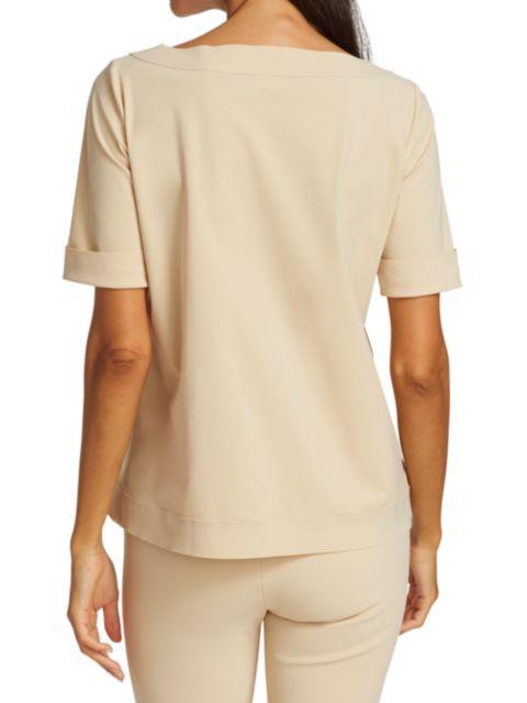 Chiara Boni La Petite Robe Trifonia Short-Sleeve Patch-Pocket Top | SaksFifthAvenue