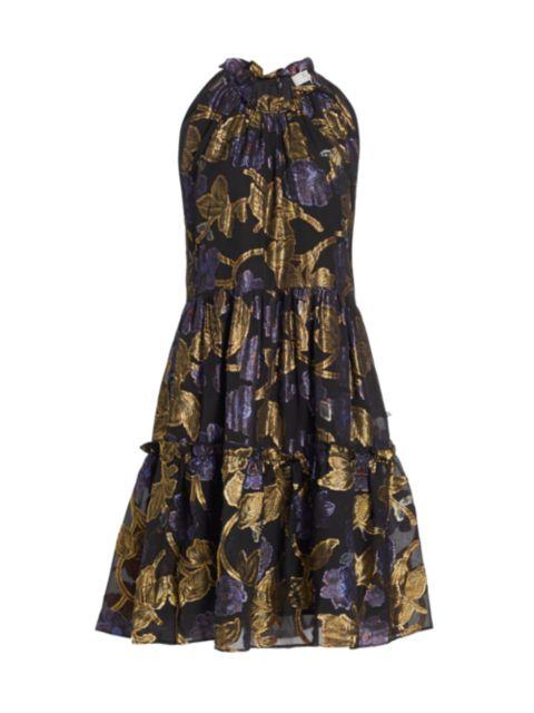 Sea Metallic Floral Halter Tunic Dress | SaksFifthAvenue