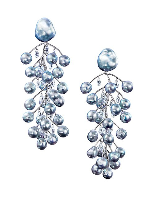 Winter Branches Platinum, 7.7-18MM Blue Pearl & Diamond Clip-On Linear Earrings