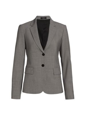 Theory Carissa Printed Wool Button-Front Blazer
