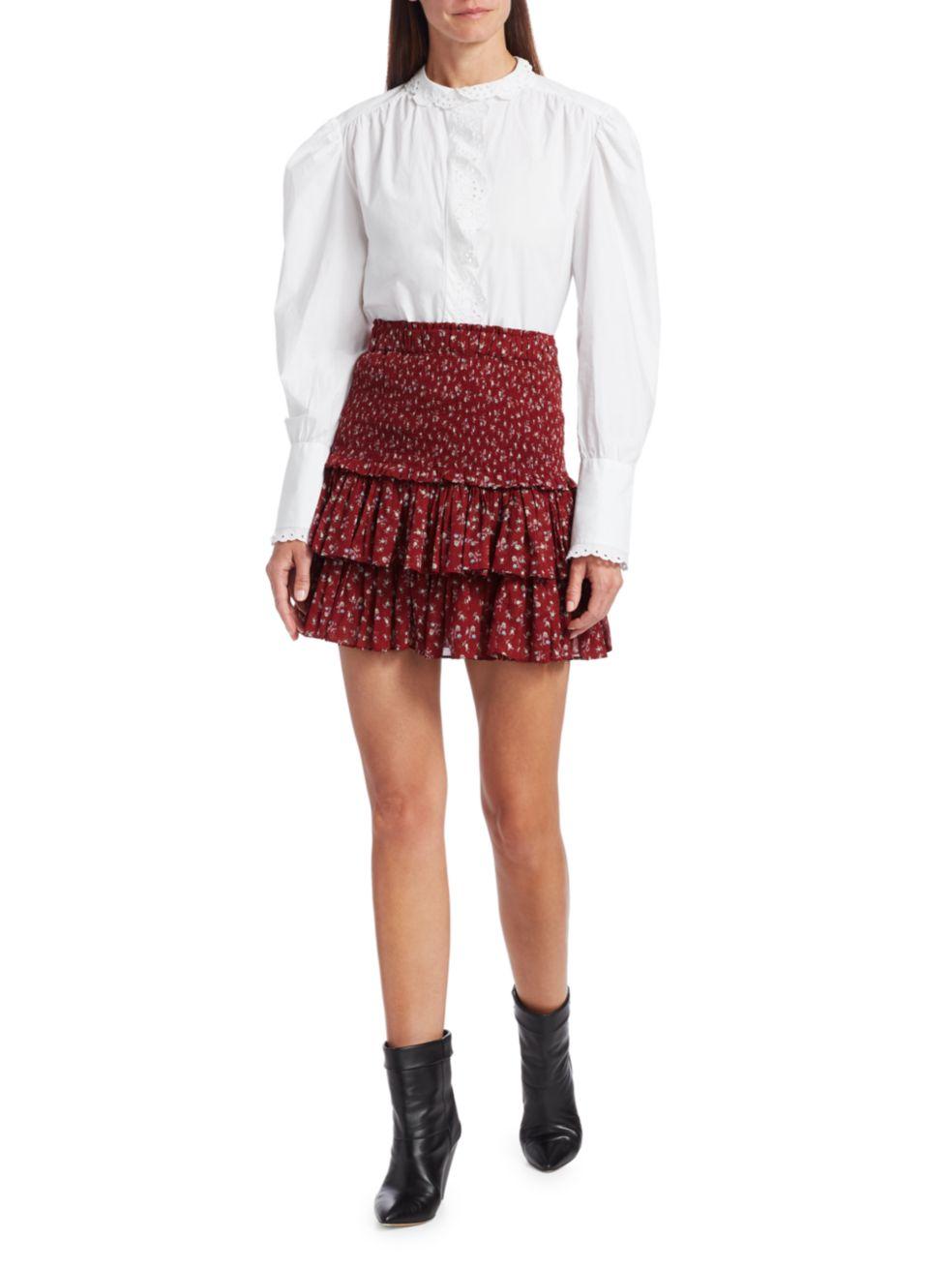 Isabel Marant Etoile Orlana Ruffle Embroidered Long-Sleeve Blouse   SaksFifthAvenue