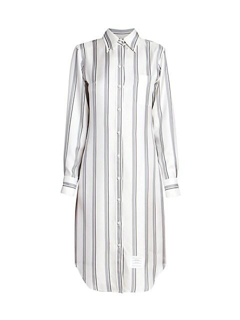 Collared Pinstripe Silk Shirtdress