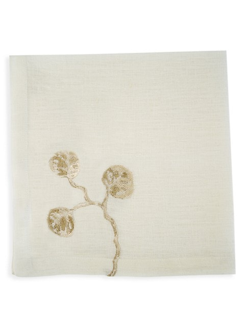 Botanical Leaf 4-Piece Linen Dinner Napkin Set