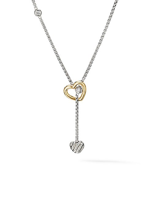 Cable Collectibles® Heart Y Necklace with 18K Yellow Gold & Diamonds
