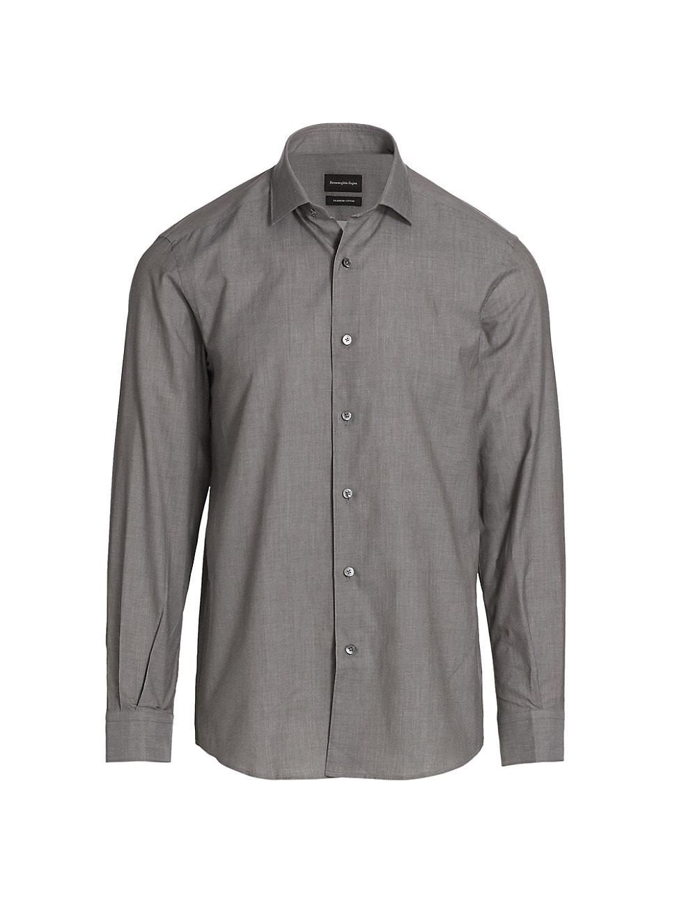 Ermenegildo Zegna Solid Sport Shirt In Dark Green Solid