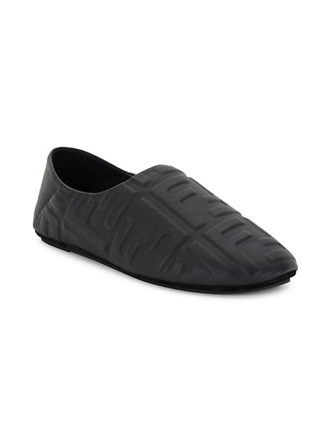 FF-Embossed Leather Slippers