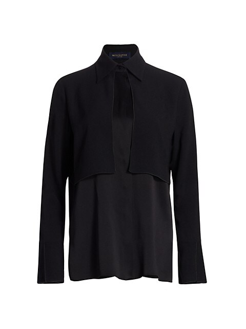Paneled Satin Poloneck Shirt