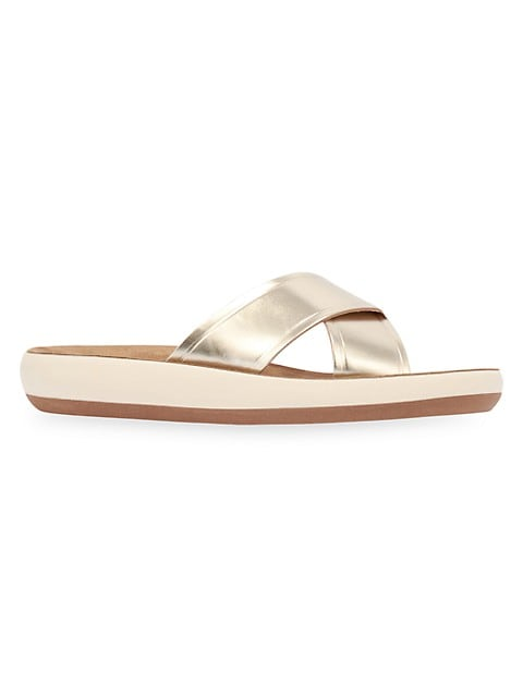 Thais Metallic Leather Flatform Sandals