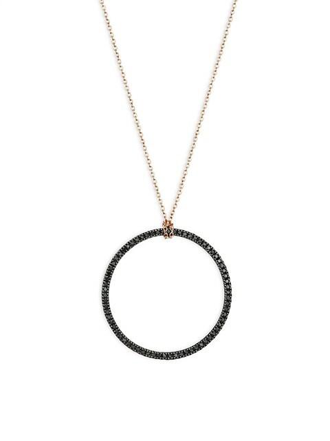 Circles 18K Rose Gold & Black Diamond Circle Pendant Necklace